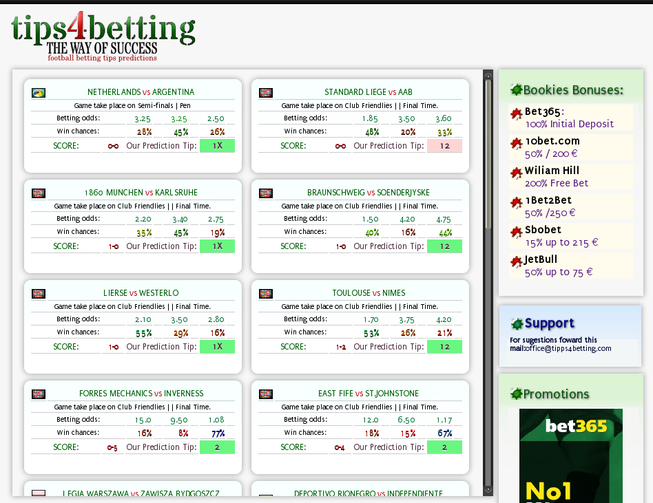 Football betting tips and prediction Vergeben