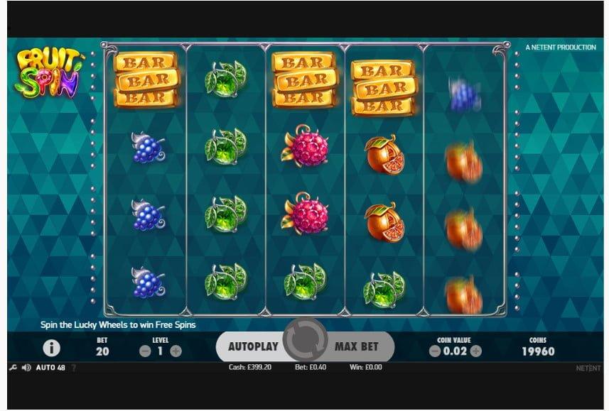 Grafiskt vackraste spelautomaterna Fruit Spin Zimmertest